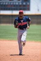 Cleveland Indians center fielder George Valera (32) jogs off the field between innings of an Extended Spring Training game against the Arizona Diamondbacks at the Cleveland Indians Training Complex on May 27, 2018 in Goodyear, Arizona. (Zachary Lucy/Four Seam Images)