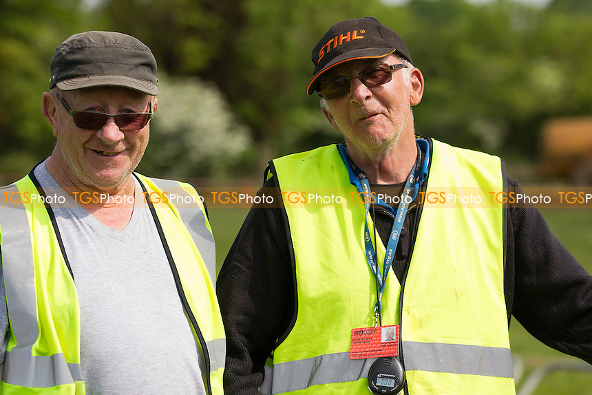 The holding area marshals at Wattisfield during ACU British Sidecar Cross Championship Round Three at Wattisfield Hall MX Track on 22nd May 2016