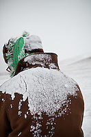 A Kyrgyz horse rider, in -30C. Between Ortobil and Kyzyl Qorum...Trekking with yak caravan through the Little Pamir where the Afghan Kyrgyz community live all year, on the borders of China, Tajikistan and Pakistan.