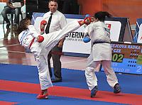 CALI - COLOMBIA - 27-07-2013: Combate de Karate Do entre Krejcova de Republica Checa y Aco de Peru durante los IX Juegos Mundiales Cali, julio 27 de 2013. (Foto: VizzorImage / Luis Ramirez / Staff.) Combat of Karate Do between Krejcova from Czech Republic and Aco from Peru in the IX World Games Cali July 27, 2013. (Photo: VizzorImage / Luis Ramirez / Staff.)