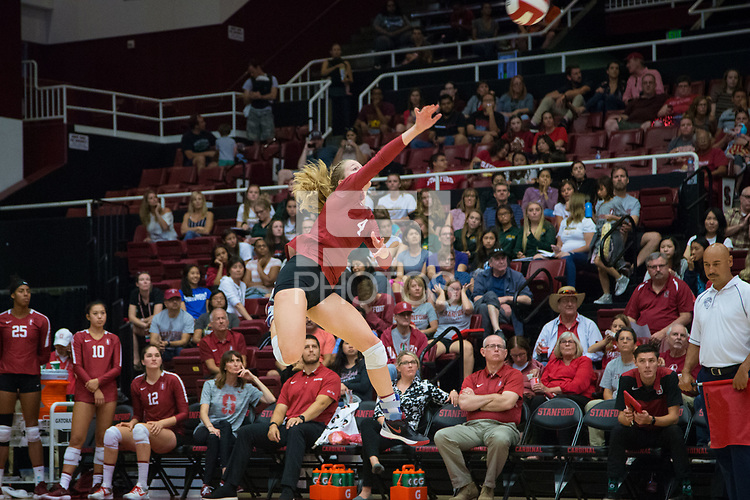 STANFORD, CA - September 9, 2018: Meghan McClure at Maples Pavilion. The Stanford Cardinal defeated #1 ranked Minnesota 3-1 in the Big Ten / PAC-12 Challenge.