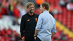 Jurgen Klopp manager of Liverpool  and Julian Nagelsmann manager of 1899 Hoffenheim during the Champions League playoff round at the Anfield Stadium, Liverpool. Picture date 23rd August 2017. Picture credit should read: Lynne Cameron/Sportimage