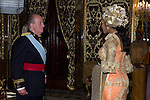 09.10.2012. King Juan Carlos I of Spain attend the reception of credentials of the new Ambassador of Federal Republic of Nigeria, Bianca Olivia Odumegwu-Ojukwu,  in the Royal Palace in Madrid, Spain. In the image King Juan Carlos and Bianca Olivia Odumegwu-Ojukwu (Alterphotos/Marta Gonzalez)