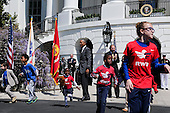 United States President Barack Obama welcomes the Wounded Warrior Ride at the White House, in Washington, DC, April 14, 2016.  The event helps raise awareness to the public about severely injured veterans and provides rehabilitation opportunities. <br /> Credit: Aude Guerrucci / Pool via CNP