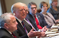 United States President Donald J. Trump participates in a news briefing with presidents of Baltic countries at The White House in Washington, DC, April 3, 2018. Photo Credit: Chris Kleponis/CNP/AdMedia