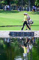 Jon Rahm (ESP) walks across the bridge on 6 with his caddie  during round 2 of the World Golf Championships, Mexico, Club De Golf Chapultepec, Mexico City, Mexico. 3/3/2017.<br /> Picture: Golffile | Ken Murray<br /> <br /> <br /> All photo usage must carry mandatory copyright credit (&copy; Golffile | Ken Murray)