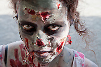 Up close headshot of female participating in the zombie walk in prague europe may 2014.