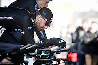 Sir Bradley Wiggins (GBR/Sky) warming up for his final TT as a World TT Champion<br /> <br /> 3 Days of De Panne 2015<br /> stage 3b: De Panne-De Panne TT