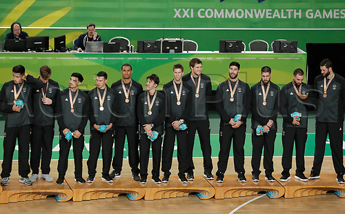 15th April 2018, Gold Coast Convention and Exhibition Centre, Gold Coast, Australia; Commonwealth Games day 11, Basketball, Gold Medal Play Off, Australia versus Canada; Bronze Medal winning Tall Blacks from New Zealand on the dias