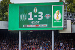 11.08.2019, Stadion an der Bremer Brücke, Osnabrück, GER, DFB Pokal, 1. Hauptrunde, VfL Osnabrueck vs RB Leipzig, DFB REGULATIONS PROHIBIT ANY USE OF PHOTOGRAPHS AS IMAGE SEQUENCES AND/OR QUASI-VIDEO<br /> <br /> im Bild | picture shows:<br /> Anzeigetafel mit Zwischenstand 1:3, <br /> <br /> Foto © nordphoto / Rauch