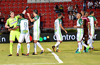 IBAGUE - COLOMBIA -  26 - 11 - 2017: Los jugador de Atletico Nacional, durante partido de ida por la Liga Aguila II 2017 entre Deportes Tolima y Atletico Nacional, jugado en el estadio Manuel Murillo Toro de la ciudad de Ibague. / The players of Atletico Nacional, during a match of the first leg for the Aguila League II 2016, between Deportes Tolima and Atletico Nacional,  played at Manuel Murillo Toro stadium in Ibague city. Photo: VizzorImage / Juan Carlos Escobar / Cont.