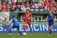 Portland, Oregon - Sunday May 29, 2016: Portland Thorns FC forward Nadia Nadim (9). The Portland Thorns play the Seattle Reign during a regular season NWSL match at Providence Park.