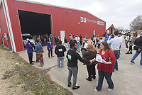 NWA Democrat-Gazette/FLIP PUTTHOFF <br /> Visitors gather Feb. 5 2019 for a ribbon cutting during an open house at Farm Studios in the Hiwasse community.