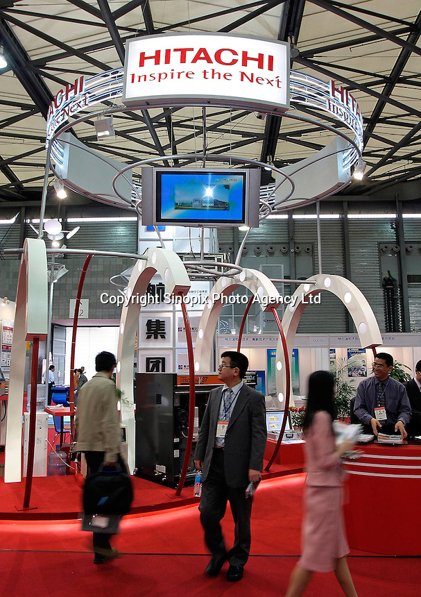 The booth of Hitachi in the 2004 Shanghai International Industrial Fair. Shanghai, China..09-NOV-04
