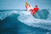 Cheyne Horan (AUS) surfing in the 1981 Rip Curl Pro Bells Beach won by  Simon Anderson (AUS) Bells Beach, Torquay, Victoria, Australia. circa 1981..Photo: Joliphotos.com