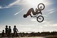 NWA Democrat-Gazette/CHARLIE KAIJO Connor Williamson of the group All Bikes All Day NWA performs a flip, Sunday, November 3, 2019 during the Runway Bike Park's first birthday celebration at the Jones Center's Runway Bike Park in Springdale.<br /> <br /> Riders took to the pump track and bicycle playground to celebrate along with community bike groups Buddy Pegs, Groove Skate Shop and All Bikes All Day NWA