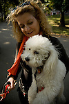 Bichon Frise dog held by blond woman in Central Park, NYC, portrait