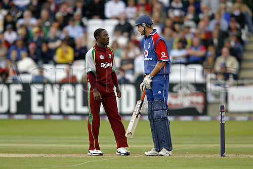 1 July 2007: West Indies bowler Fidel Edwards has words with Stuart Broad during the first Natwest series one day International between England and West Indies at Lords. England won the match by 79 runs Photo: Neil Tingle/Action Plus...070701 cricket cricketer