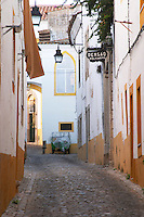 cobble stone street and houses evora alentejo portugal