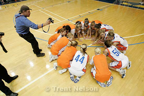 Murray vs. Timpview 4A girls state basketball championships, high school, at Salt Lake Community College.&amp;#xA;2.25.2005 pre-game monopod. Daily Herald photographer Frank Bott.<br />