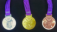 25.07.2012 London, England.   The 3 Olympic Medals in Silver Gold and Bronze Olympic Games London 2012