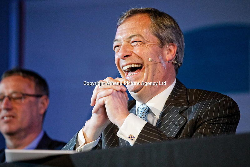 Pictured: Nigel Farage sits at the top table. Tuesday 30 April 2019<br /> Re: Nigel Farage and Anne Widdecombe at the Brexit Party rally at The Neon in Clarence Place in Newport, south Wales, UK.
