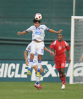 El Salvador Luis Amaya (23) heads the ball. Panama defeated El Salvador in penalty kicks 5-3 in the quaterfinals for the 2011 CONCACAF Gold Cup , at RFK Stadium, Sunday June 19, 2011.