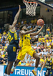 02.06.2019, EWE Arena, Oldenburg, GER, easy Credit-BBL, Playoffs, HF Spiel 1, EWE Baskets Oldenburg vs ALBA Berlin, im Bild<br /> Frantz MASSENAT (EWE Baskets Oldenburg #10 ) Landry NNOKO (ALBA Berlin #35 )<br /> <br /> Foto © nordphoto / Rojahn
