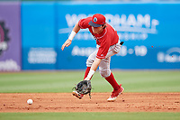 Lakewood BlueClaws shortstop Nick Maton (6) fields a ground ball during a game against the Greensboro Grasshoppers on June 10, 2018 at First National Bank Field in Greensboro, North Carolina.  Lakewood defeated Greensboro 2-0.  (Mike Janes/Four Seam Images)