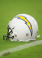 Aug. 22, 2009; Glendale, AZ, USA; A detailed view of a San Diego Chargers helmet during the game against the Arizona Cardinals during a preseason game at University of Phoenix Stadium. Mandatory Credit: Mark J. Rebilas-