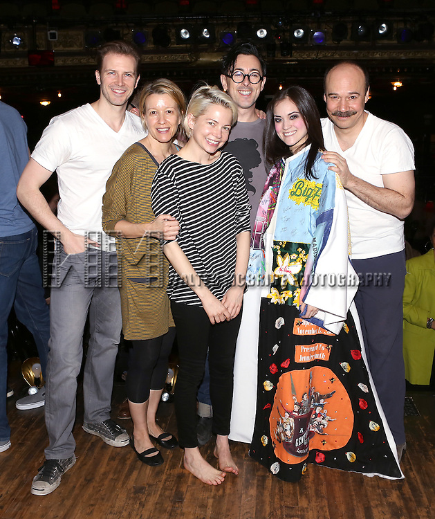 Bill Heck, Linda Emond, Michelle Williams, Alan Cumming, Andrea Goss and Danny Burstein during the Broadway Opening Night Gypsy Robe Ceremony honoring Andrea Goss for 'Cabaret' at Studio 54 on April 24, 2014 in New York City.