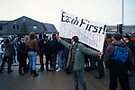 Protest at Timbmet timber yard's illegal importation of tropical hardwoods .  Cumnor Hill, Oxford..One of the first Earth First direct actions in the UK.