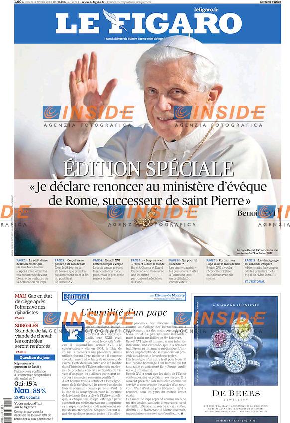 Le Figaro Prima Pagina - Front Page .Papa Benedetto XVI.Foto Maria Grazia Picciarella Insidefoto