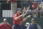 USA Team player Jim Furyk stirs up the crowd on the 1st tee during the Singles on the Final Day of the Ryder Cup at Valhalla Golf Club, Louisville, Kentucky, USA, 21st September 2008 (Photo by Eoin Clarke/GOLFFILE)