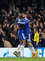 Diego Costa of Chelsea celebrates his goal with Mikel John Obi of Chelsea during the UEFA Champions League Round of 16 2nd leg match between Chelsea and PSG at Stamford Bridge, London, England on 9 March 2016. Photo by Andy Rowland.