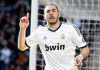 Real Madrid's Karim Benzema celebrates goal during La Liga match.March 02,2013. (ALTERPHOTOS/Acero) /NortePhoto