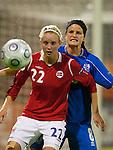 Cecilie Pedersen and Katrin Jonsdottir, Womens' EURO 2009 in Finland.Iceland-Norway, 08272009, Lahti