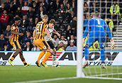 8th September 2017, Pride Park Stadium, Derby, England; EFL Championship football, Derby County versus Hull City; Chris Martin of Derby County on the attack with the ball closely marked by Michael Dawson of Hull City