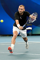 7th January 2020; Sydney Olympic Park Tennis Centre, Sydney, New South Wales, Australia; ATP Cup Australia, Sydney, Day 5; Great Britain versus Moldova; Daniel Evans of Great Britain versus Radu Albot of Moldova; Daniel Evans of Great Britain hits a backhand to Radu Albot of Moldova - Editorial Use