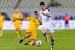 Trent Sainsbury of Australia (L) fights for the ball with Eldor Shomurodov of Uzbekistan (R) during the AFC Asian Cup UAE 2019 Round of 16 match between Australia (AUS) and Uzbekistan (UZB) at Khalifa Bin Zayed Stadium on 21 January 2019 in Al Ain, United Arab Emirates. Photo by Marcio Rodrigo Machado / Power Sport Images