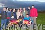 DOUBLE: A great double for the Kellihers and the Ryles on the Kingdom Cup final day held by the Co kerry Coursing Club on Tuesday, Kneelingfront l-r: Eoiun Greaney,Darragh Sheehan, Val Burke and John Ryle.Standing l-r: Sean and John Kelliher, John O'Keeffe, Thomas McElligott, Josephine  and Tom McCarthy, Thomas McCarthy (jnr),Jerry Carroll, Pat McCarthy and Michael Kelliher...........