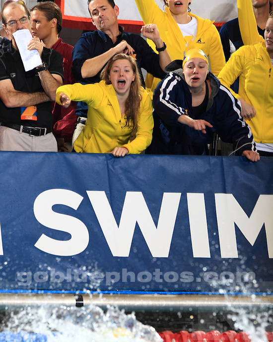 The University of Michigan women's swimming and diving team compete on the first day of the 2013 NCAA National Championships at the IU Natatorium in Indianapolis, Ind., on March 21, 2013.