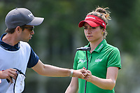 Gaby Lopez (MEX) fist bumps her caddie after sinking her par putt on 4 during round 4 of the 2019 US Women's Open, Charleston Country Club, Charleston, South Carolina,  USA. 6/2/2019.<br /> Picture: Golffile | Ken Murray<br /> <br /> All photo usage must carry mandatory copyright credit (© Golffile | Ken Murray)