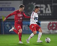 FC GULLEGEM - KV KORTRIJK :<br /> vriendschappelijke wedstrijd<br /> Larry Azouni (R) en Victor Van De Wiele (L)<br /> <br /> Foto VDB / Bart Vandenbroucke