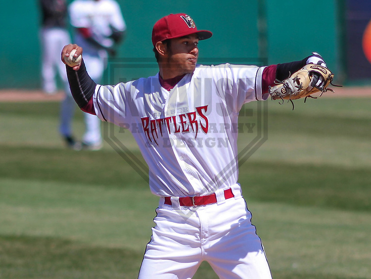 APPLETON - April 2015:  Wisconsin Timber Rattlers shortstop Jake Gatewood (2) during a Midwest League game against the Cedar Rapids Kernels on April 23rd, 2015 at Fox Cities Stadium in Appleton, Wisconsin. (Photo Credit: Brad Krause)