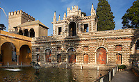 Detail of Jardin de la Alcubilla (Garden of the Reservoir), Real Alcazar, Seville, Spain, pictured on December 26, 2006, in the afternoon. The Real Alacazar was commissioned by Pedro I of Castile in 1364 to be built in the Mudejar style by Moorish craftsmen. The palace, built on the site of an earlier Moorish palace, is a stunning example of the style and a UNESCO World Heritage site. The gardens are a mixture of Moorish, French and Renaissance styles. This, the Garden of the Reservoir, dates from the time of Charles V (1500-58). Picture by Manuel Cohen.