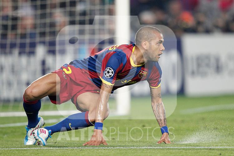 Barcelona's Daniel Alves during Champions League match on April, 6th 2011...Photo: Acero / Cebolla / ALFAQUI