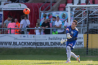 Goalkeeper Rob Lamarr (TV Presenter) throws out the ball during the 'Greatest Show on Turf' Celebrity Event - Once in a Blue Moon Events at the London Borough of Barking and Dagenham Stadium, London, England on 8 May 2016. Photo by Andy Rowland.