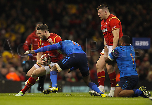 26.02.2016. Principality Stadium, Cardiff, Wales. RBS Six Nations Championships. Wales versus France. Wales Alex Cuthbert is tackled by France's Djibril Camara