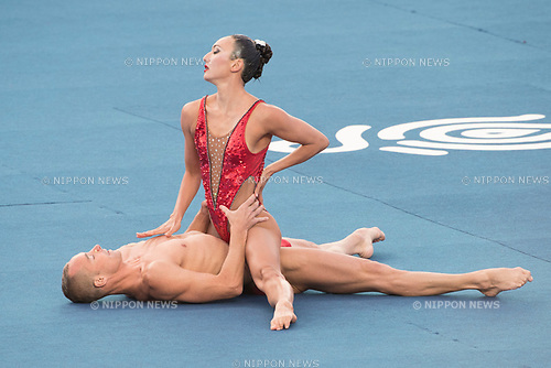 Kanako Kitao Spendlove & Bill May (USA), JULY 15, 2017 - Synchronized Swimming : 17th FINA World Championships 2017 Budapest Mixed Duet Technical Routine Preliminary round at City Park - Varosliget Lake in Budapest, Hungary. (Photo by Enrico Calderoni/AFLO)